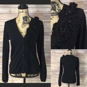 BCBGMAXAZRIA Black Embellished Cardigan